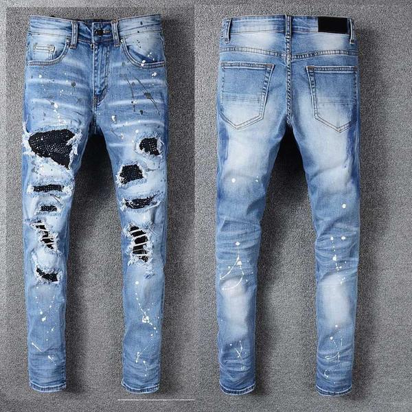 TOP Pantaloni firmati da uomo Pantaloni sportivi aderenti casual stile nuovo Jeans firmati da uomo Pantaloni da jogging con cavallo basso Jeans da uomo