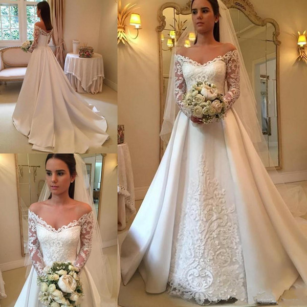 2019 Newest V-neck Long Sleeve Wedding Dresses Button up Back Chapel Train Lace Bridal Wedding Gowns Bride Dresses Vestido De Novia