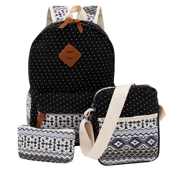 Preppy Stylish Canvas Printing Backpack Women School Bags for Teenage Girls Cute Black Set Travel Backpacks Female Bagpack