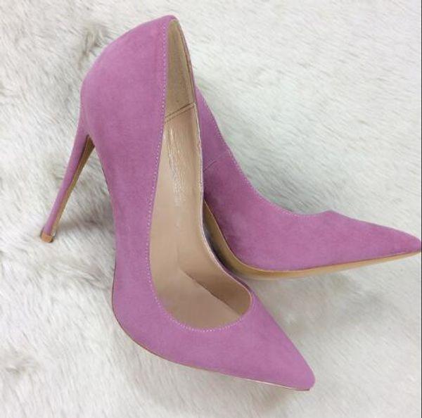 Été 12 cm Talons Hauts Chaussures Femmes Rose Pourpre En Cuir Suédé Bout Pointu Talons Hauts Talons Sexy Bottes À Talons Mains Sandales, Chaussures Habillées Pour Femmes