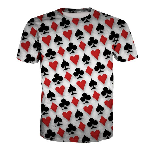 Novelty Poker Print T-shirt Fitness Plus Size Men Tee Tops Playing Card Fashion Harajuku Mens T Shirts Summer Hot Sale Clothing Y19050701