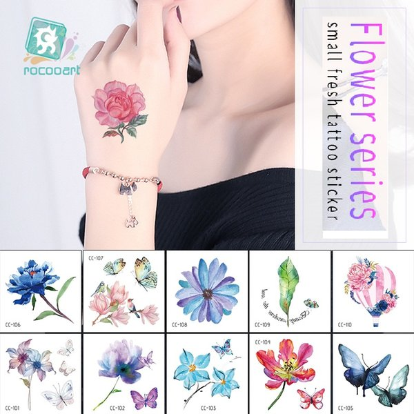Rocooart flores pequeñas tatuaje falso rosa lavanda loto tatuaje temporal arte corporal mujer tatuaje pegatinas para mano cara sexy Taty