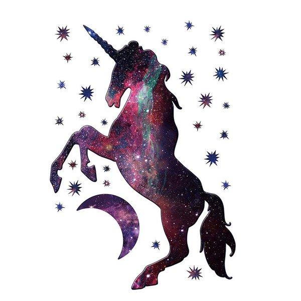 Cartoon Unicorns Wall Stickers Magic Star Purple Cute Animal Wallpaper Bedroom Wall Decals Kids Living Room Baby Room Home Decor