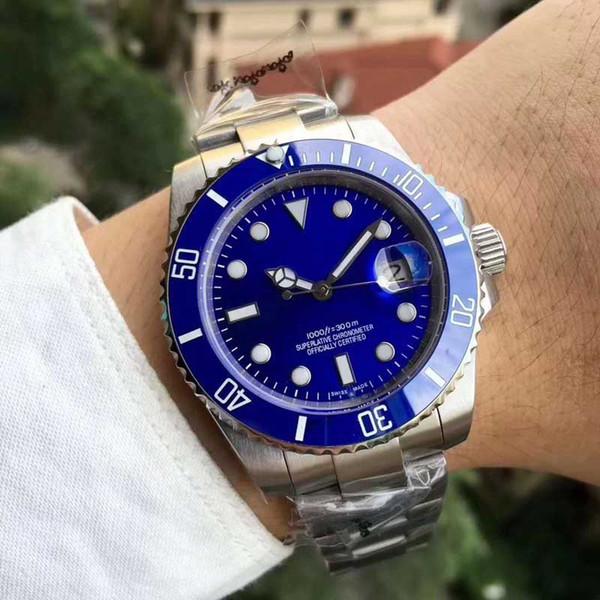 Relógio dos homens de Moda Azul Dial cerâmica Bezel caixa de aço inoxidável Relógio Mecânico Automático Presente Homem Movimento De Quartzo Disponível