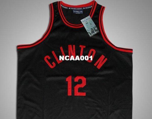 Clinton Black Red #12 Tiny Archibald High School Throwback Basketball Jersey NWT