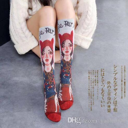 Fashion net red oil painting socks Europe and the United States wind tide brand gold silk cotton long tube painted socks