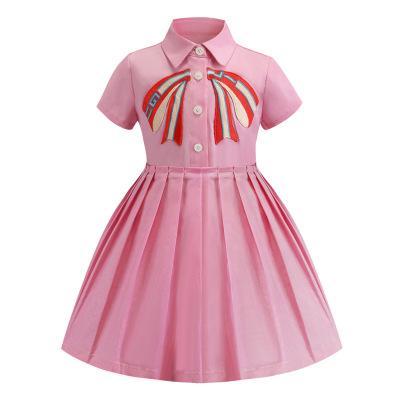 Vestido de diseñador para niños ropa 2019 verano bowknot bordado princesa de las niñas vestido lindo de la solapa de manga corta niños vestido plisado de alta calidad