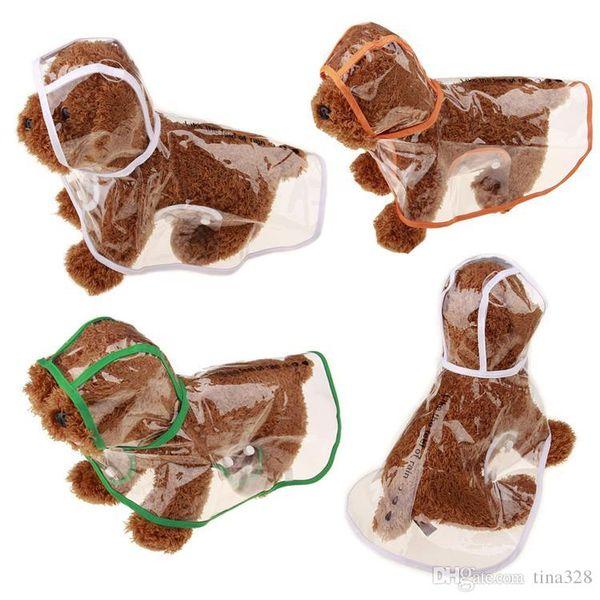 Wholesale - Transparent Dog waterproof raincoat pet poncho hooded pet poncho clothes dog Apparel rainy day IA004