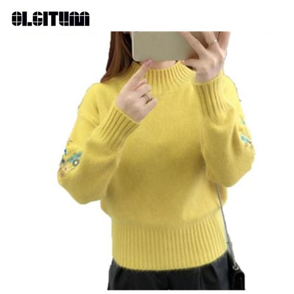 Nuevo 2018 Suéter corto de invierno de fondo dulce Suéter de cuello medio femenino Suéter de punto de bordado suelto grueso 8 colores