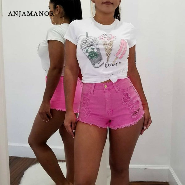 ANJAMANOR Neon Candy Color Ripped High Waist Denim Jean Shorts Women Summer Sexy Booty Shorts Plus Size Short Pants D43-AC80