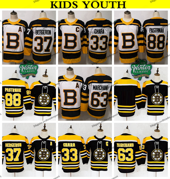 2019 Winter Classic Youth Boston Bruins Hockey Jerseys 37 Patrice Bergeron Zdeno Chara Brad Marchand David Pastrnak Kids Hockey Shirts