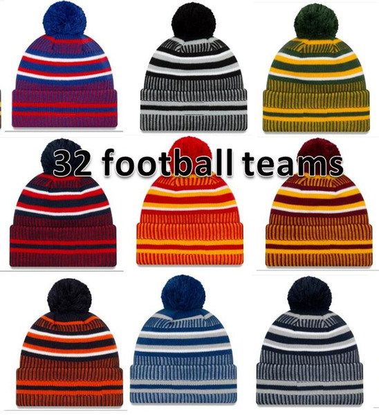 top popular 2019 New Arrival Sideline Beanies Hats American Football 32 teams Sports winter side line knit caps Beanie Knitted Hats drop shippping B02 2019