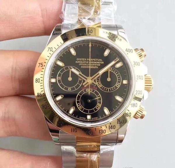 Con caja original de calidad superior zafiro 40 mm esfera negra bisel de cerámica 116509 automático mecánico para hombre relojes de relojes No Chronogra