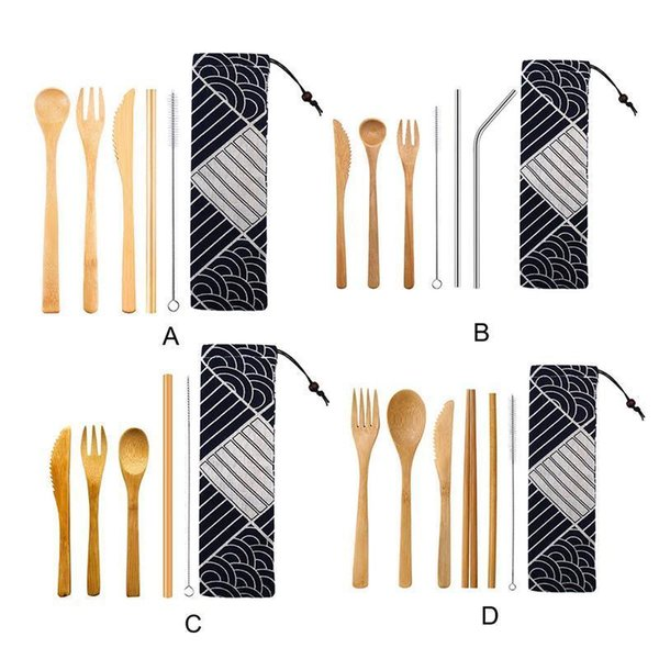 Japanese Wooden Dinnerware Bamboo Straw Cutlery Set With Cloth Bag Kitchen Cooking Tools C19042101