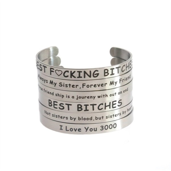 Wristband I Love You 3000 Creative Idea Bracelets Type C Opening Good Friend Stainless Steel Distortion Bangle Hot Selling 5 5xm p1