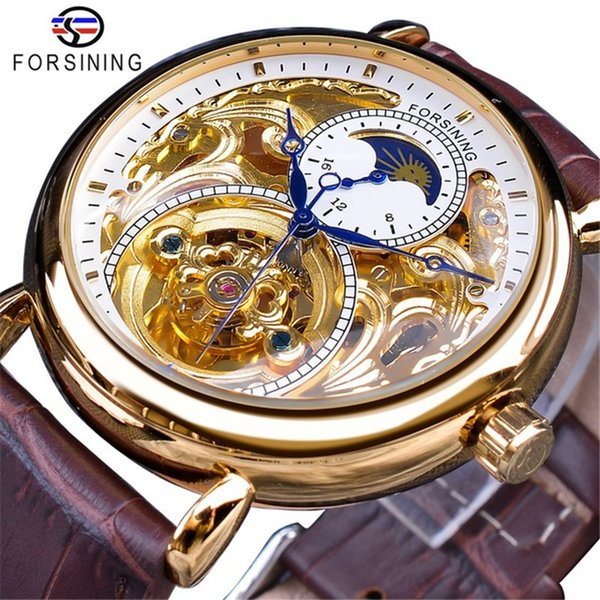 Forsining Automatic Self-Wind Watch Mens Mechanical Wristwatches Skeleton Display Blue Hands Genuine Leather Belt Clock Male SLZe161