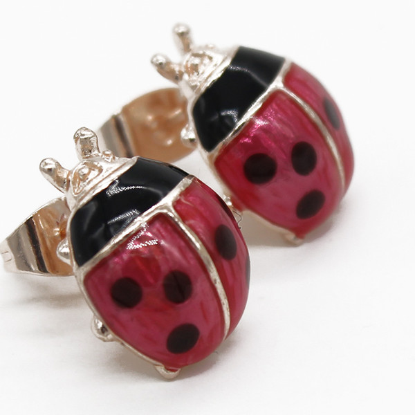 Fashion Miraculous Ladybug Beetle Insect Stud Earrings For Women Girls Kids Brincos 2018 Enamel Small Clip On Ear Jewelry