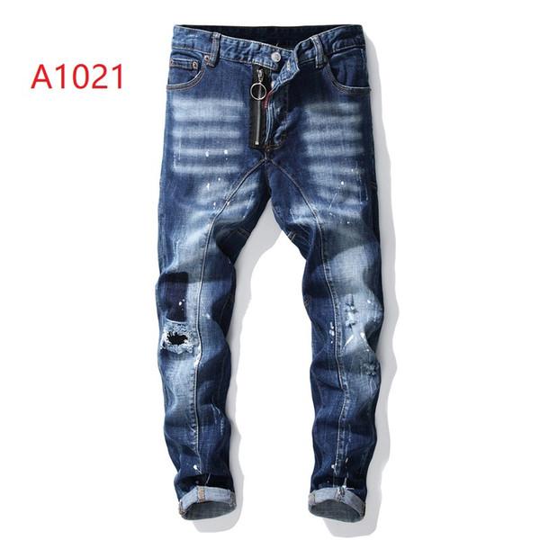 D2 moda para hombre jeans ajustados Italia tendencia diseñador de la marca jeans privados personalizados vendiendo hombres blue biker jeans moda callejera pantalones casuales 28-38