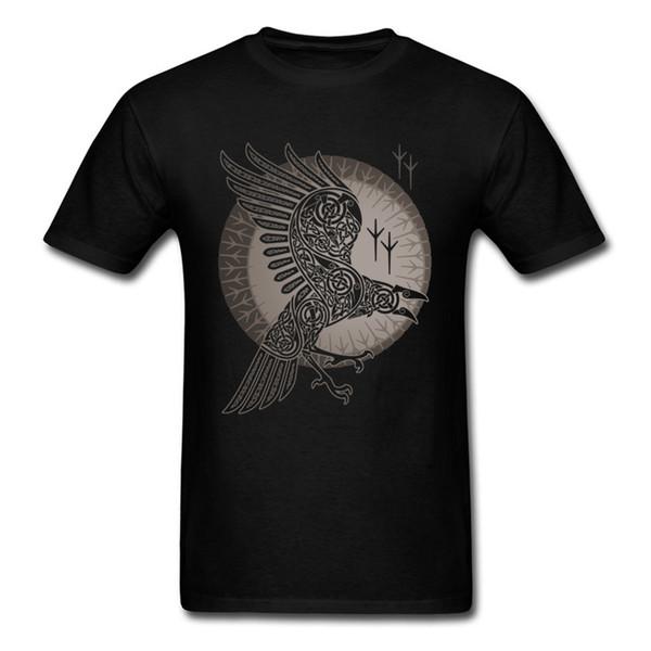 Camiseta del cuervo nórdico Camiseta gráfica misteriosa Juego de tronos Viking Crow Ropa Hombres Camiseta Algodón Tops Camisetas negras