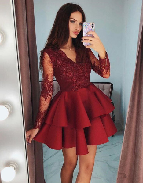 Burgundy Ruffles Satin Short Prom Dresses 2019 Modest Sheer Long Sleeves Formal Party Gowns Appliques Lace Homecoming Dress