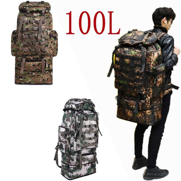 100l hiking backpack outdoor large capacity camouflage softback tactical backpack women men bag for climbing travel thumbnail