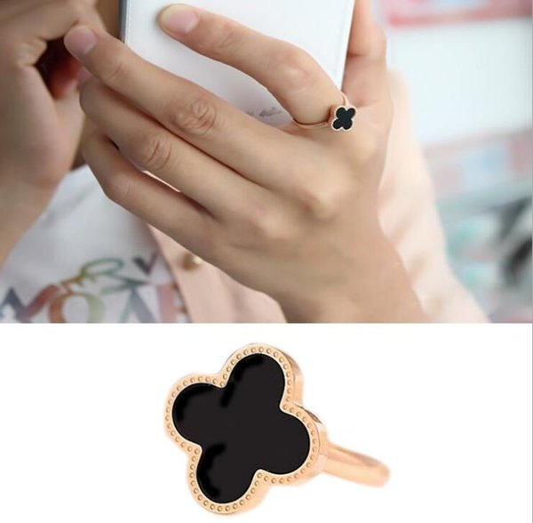 18K Rose Gold Plated Rings Four Leaves Clover Designer Jewelry for Women Ring Ajustable Size