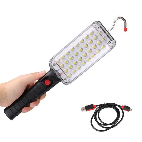 Tragbare laterne 34 leds taschenlampe magnetische taschenlampe usb wiederaufladbare arbeitslicht hängen haken zelt lampe für camping notfall