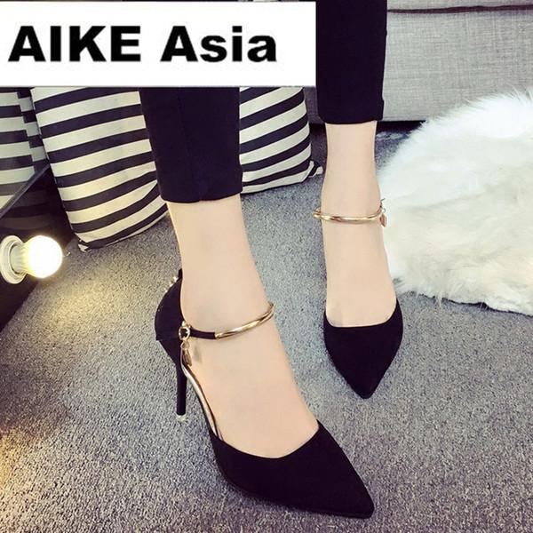 Dress Shoes Hot 2019 Fashion Womens Stiletto Thin High Heels Platform Summer Style Women Pumps Fight Color Rivet T-strap 10cm/7cm