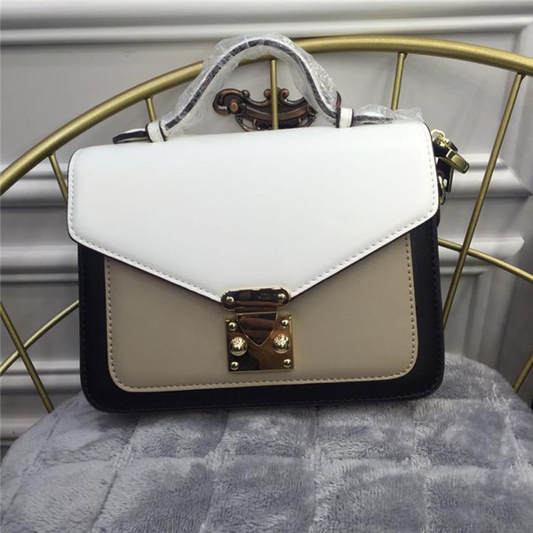 Elegant2019 Woman Bag Spelling Color Lock Portable Small Square Leisure Time Joker Broadband Postman Package Tide