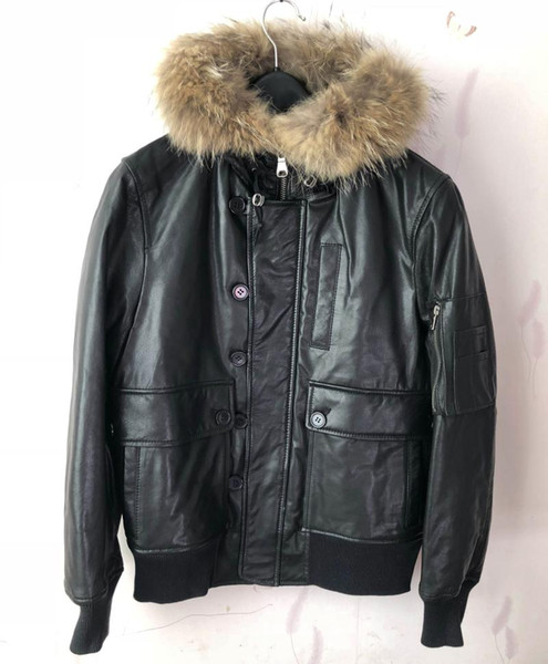 Clearance man's genuine sheepskin leather coat duck down jacket for male real raccoon fur hooded black short parkas big sales