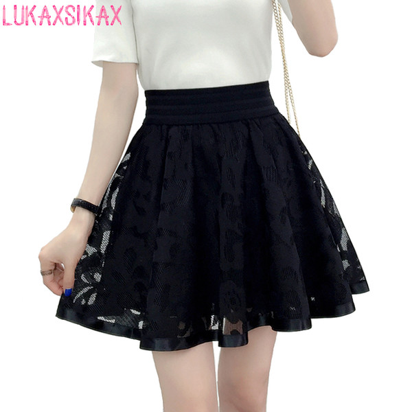 2019 New Spring Summer Women Black Mini Korean Elastic High Waist Shorts Sweet Mesh Tulle Umbrella Skirt Falda Tul C19040901