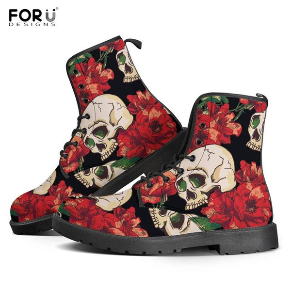 FORUDESIGNS Winter Women Waterproof Boots 3D Rose Punk Skull Floral Print Lace Up Leather Boots High Quality Round Toe Shoes