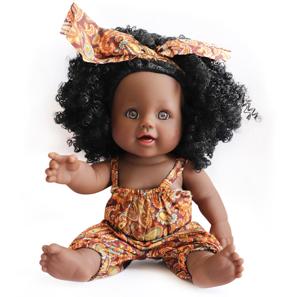 top popular 30CM Detachable Baby Girls Dolls Africa Black Skin Cute Big Eyes Reborn Baby Dolls Dress Headwear Christmas Gift 2021