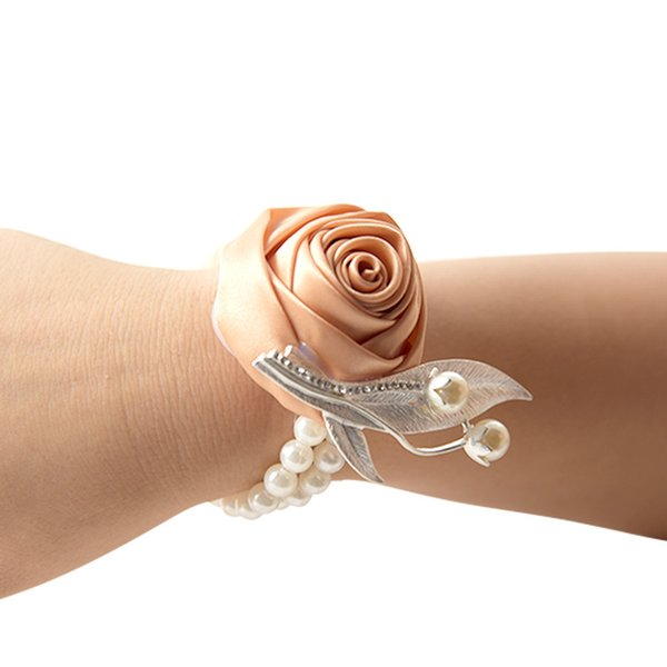Wedding decoration wrist flower with bead brooch bride dress up small gift