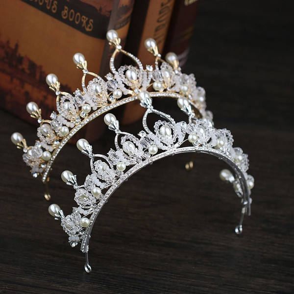 New Baroque Style Gold Silver Crystal Simulated Pearl Tiara Crowns Queen Princess Diadem Bridal Bride Wedding Party Jewelry