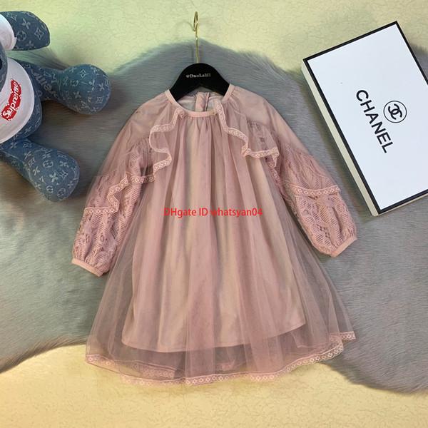 Les filles s'habillent enfants vêtements de créateurs mode automne maille broderie robe de princesse manches dentelle conception robes en coton