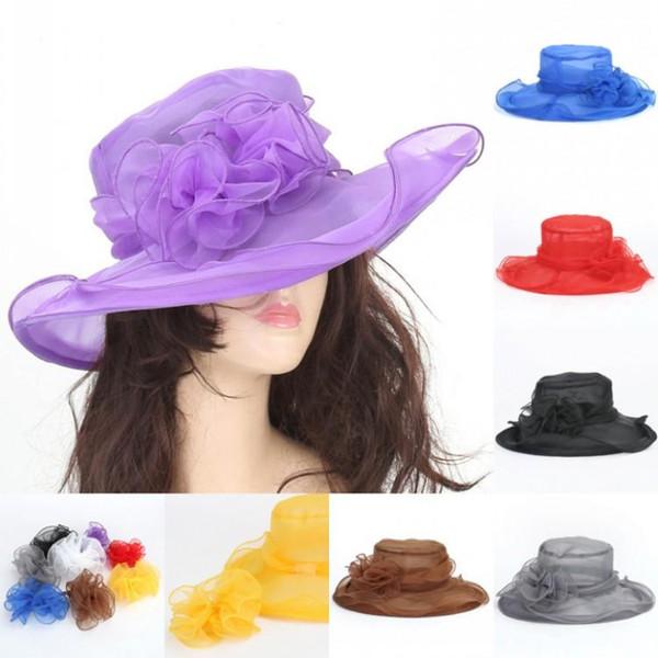 Fashion Designer Women Church Hats Kentucky Derby Organza Ladies Hat Female Summer Caps Red Blue Grey Black Brown White Purple Yellow Color