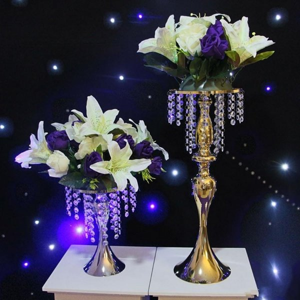 Fashion Luxxury Wedding Table Centerpieces Metal Flower Vase Cystal Display Rack for DIY Wreath display cake stand flower Road Lead