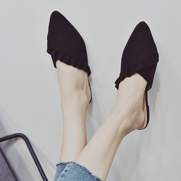 top popular Women's home slippers fur fashionable leather cross pointed lotus leaf edge flat heel sandals women's shoes fork and women's summer indoor b 2021