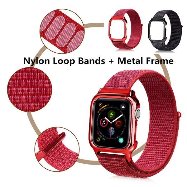 New Arrival Nylon Sport Loop Replacment Band With TPU Frame Case for Apple Watch Series 4 Lightweight Soft Breathable Woven Strap 40mm 44mm