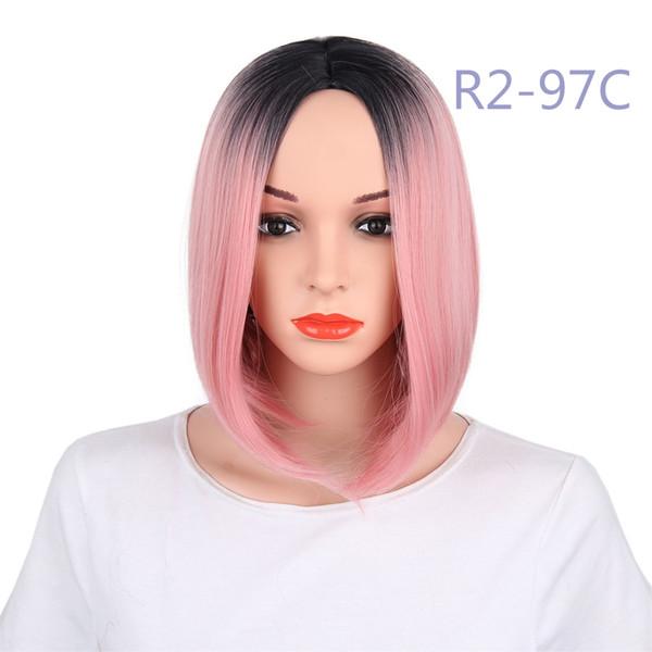 Perruques synthétiques Cheveux naturels à la mode Straight Bob Fibre résistante à la chaleur Ombre à deux tons 13 pouces