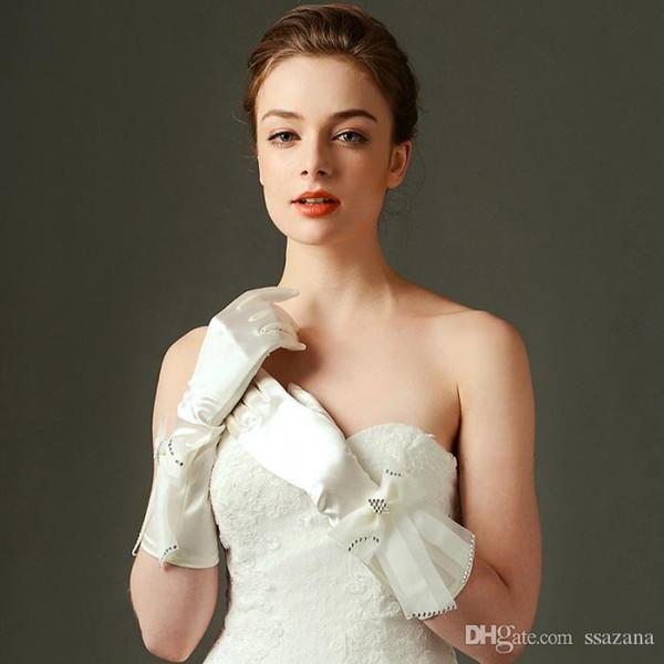 Luvas de casamento abaixo do cotovelo comprimento dedo completo luvas de noiva com miçangas luva de casamento frete grátis