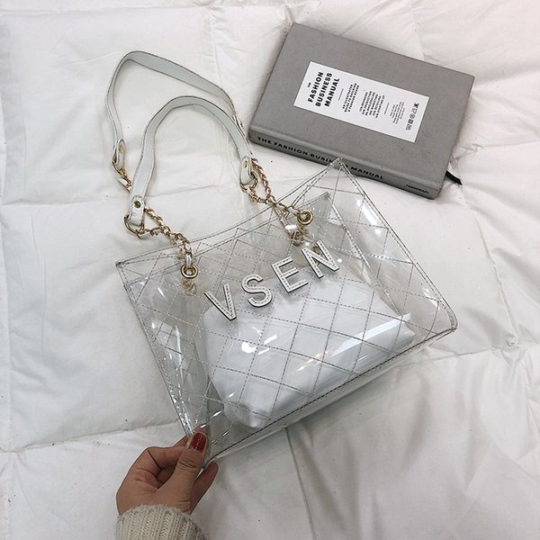 Transparent Handbag Letter Composite Bag pvc Waterproof Travel Jelly Causual Storage Bag Summer Beach Tote Party Bag