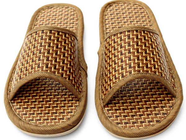 2019 New Fashion Summer Thick House Bamboo Pantofole per il tempo libero Home Indoor Floor Pantofole di canapa in lino antiscivolo