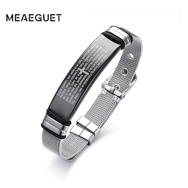christian jewelry Meaeguet Stainless Steel Cross Bible Charm Bracelet Wristband For Men Adjustable Watch Bands Bracelet Christian Jewelry