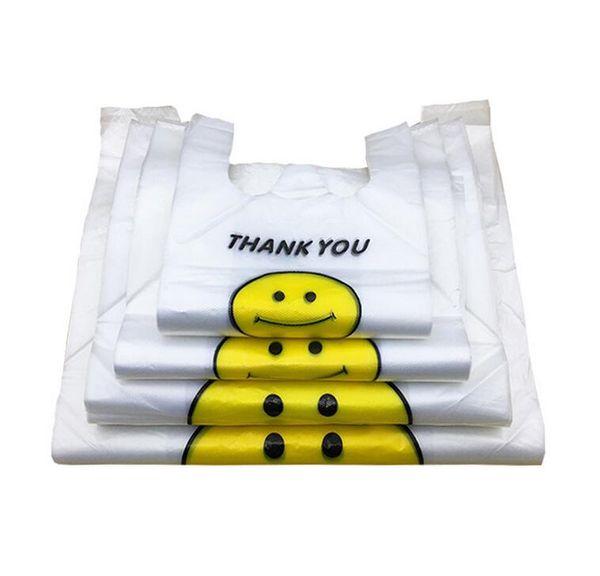 Прозрачное улыбающееся лицо Портативные пластиковые пакеты Индивидуальные свежие материалы Водонепроницаемый многоцелевой жилет Сумки для покупок Epacket бесплатно