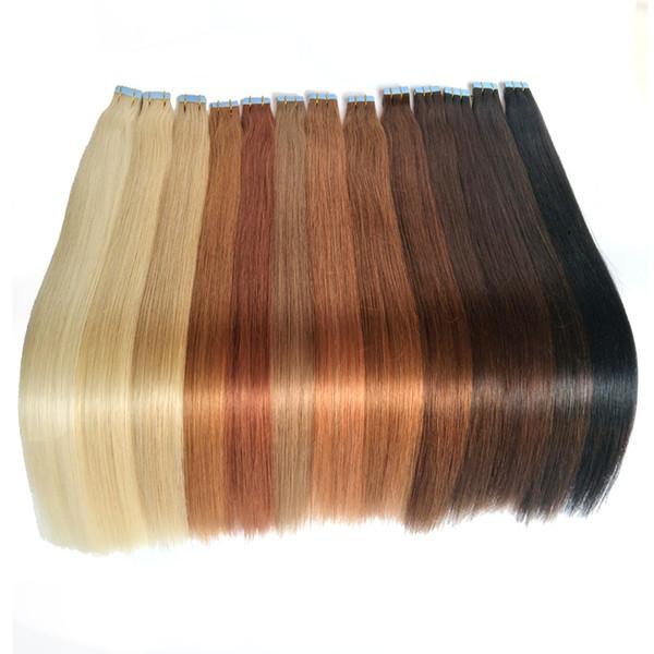 Meilleur bande de trame de la peau dans les extensions de cheveux humains 100% péruvienne droite Remy cheveux humains 18