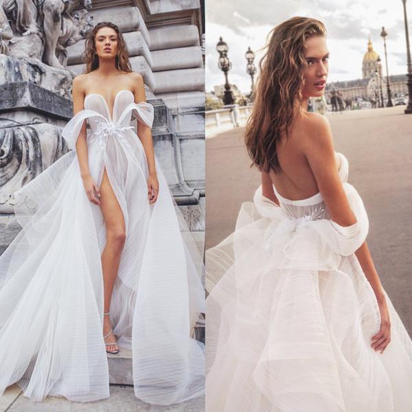 2020 Elihav Sasson Wedding Dresses V Neck Appliqued Beaded Backless Bridal Gown Ruffle High Split Tiered Skirts Sweep Train Robes De Mariée