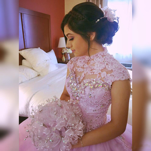Cheap Hot Pink Ball Gown Prom Dresses 2018 High Neck Crystal Sequined Puffy Affordable dresses evening wear Holiday Quinceanera Dresses