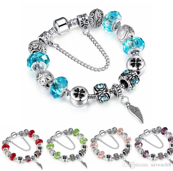 Silver color Crystal Charm Bracelets for Women With Wing pendant Beads bracelets & bangles DIY Jewelry Bracelet